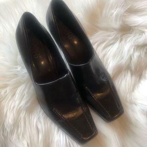 Franco Sarto Square Toe Brown Heels Size 8